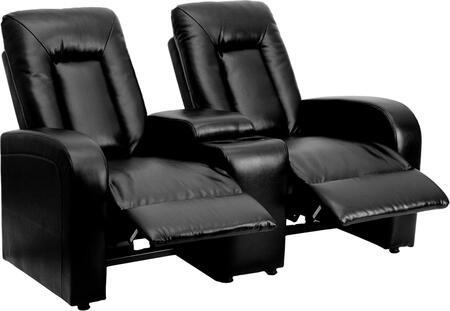 Flash Furniture BT702592GG Leather 2-Seat Home Theater Recliner with Storage Console