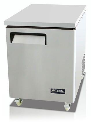 """Migali C-UXR X"""" Competitor Series Commercial Under Counter Cook Top Refrigerator with X cu. ft. Capacity, Rear Mount Compressor, Pre-installed Casters and Hold Door Open Feature, in Stainless Steel"""