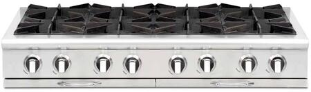 """Capital Culinarian Series CGRT488-X 48"""" Restaurant Style X Range Top with 8 Burners, EZ-Glides Drip Trays, and Auto-Ignition/Re-Ignition, in Stainless Steel"""