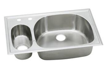 "Elkay ECGR3322L Harmony Stainless Steel 33"" Double Basin Self Rimming Kitchen Sink:"