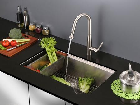 Ruvati Turino Series RVF1229XXST Pullout Spray Kitchen Faucet with XX,  Solid Brass Construction, Ceramic Disc Kerox, X Hole Installation, UPC Certified and Lead-Free Compliant in Stainless Steel