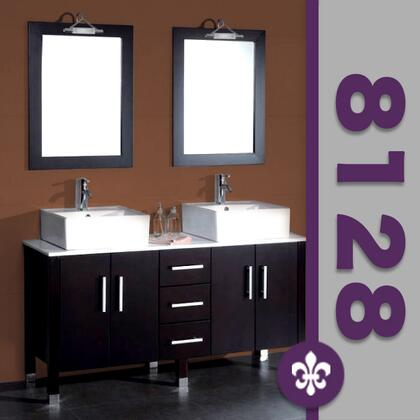 "Cambridge 8128X 60"" Espresso Solid Wood & Porcelain Double Vessel Sink Vanity Set with Facuets"
