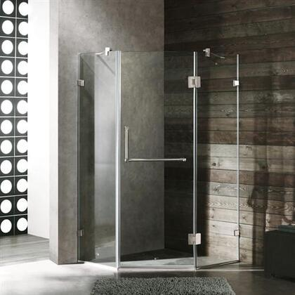 "Vigo VG6062XXCL36 36"" x 36"" Frameless Neo Angle 3/8"" Shower Enclosure:"