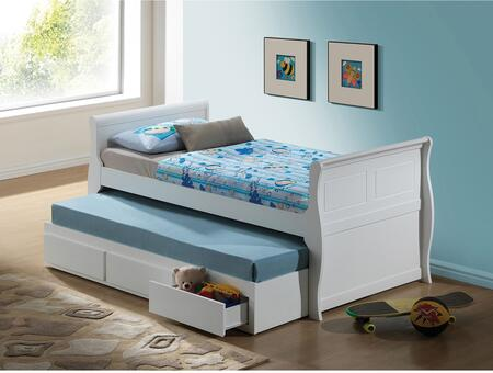 Acme Furniture Nebo Collection Size Bed with Trundle, Storage Drawers and Wood Frame in White Finish