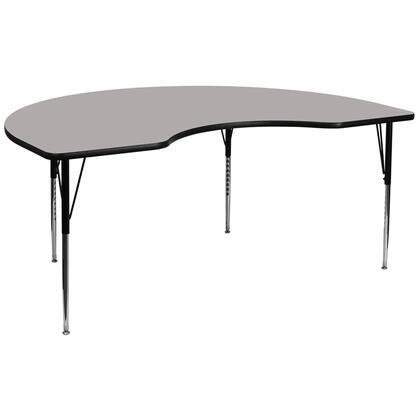 "Flash Furniture XU-A4896-KIDNY-XX-H-A-GG 48""W x 96""L Kidney Shaped Activity Table with 1.25"" Thick High Pressure Laminate Top and Standard Height Adjustable Legs"