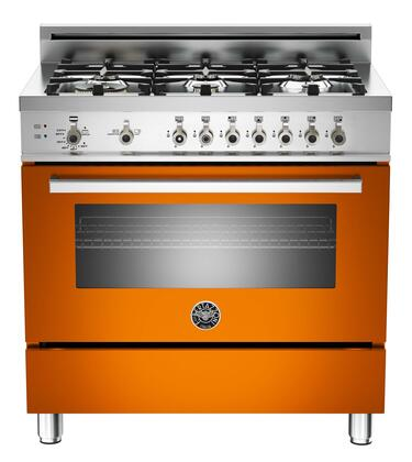 "Bertazzoni PRO366GASARLP 36"" Professional Series Gas Freestanding Range with Sealed Burner Cooktop, 4.4 cu. ft. Primary Oven Capacity, Storage in Orange"