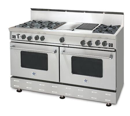 "BlueStar RNB606FTV1NG 60"" RNB Series Other Freestanding Range with Open Burner Cooktop, 4.5 cu. ft. Primary Oven Capacity, in Stainless Steel"