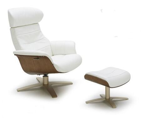VIG Furniture VGKKA928WHT Divani Casa Charles Series Modern Leather Wood Frame  Recliners
