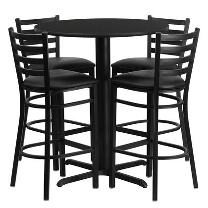 """Flash Furniture HDBF1ROU-GG 30"""" Round Laminate Table Set with 4 Ladder Back Metal Bar Stools and Black Vinyl Seat, Commercial Design, and Heavy Duty Construction"""