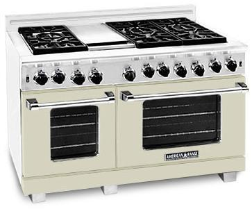 "American Range ARR486GDBG 48"" Heritage Classic Series Gas Freestanding Range with Sealed Burner Cooktop, 4.8 cu. ft. Primary Oven Capacity, in Beige"