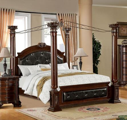 Furniture of America Mandalay CM7271X Bed with Luxurious Baroque Style, Poster Canopy, Padded Leatherette Headboard and Footboard, Solid Wood and Wood Veneer in Brown Cherry Finish