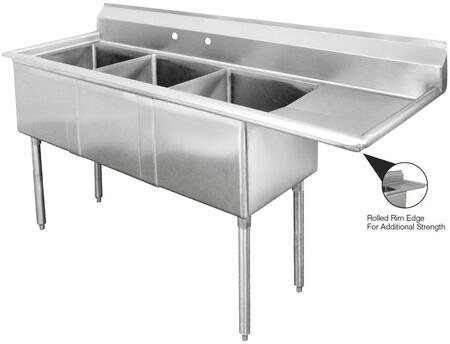 Three Compartment Sink with Right Side Drainboard