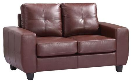 "Glory Furniture 58"" Loveseat with Removable Back, Track Arms, Tapered Legs, Tufted Cushions and PU Leather Upholstery in"