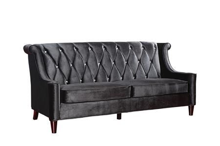 Armen Living LC8443X Barrister Transitional Style Sofa with Wooden Feet Finish and Button-tufted Detail in