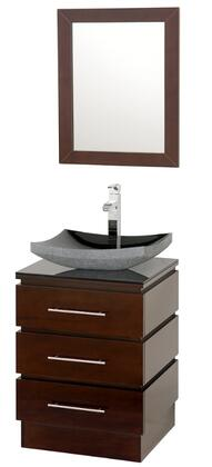 Wyndham Collection WCSMS004ES Single Vanity Set with Single-Hole Faucet Mount, 3 Drawers, Fully extending Drawer Slides, Metal Hardware & Matching Mirror in Espresso Finish
