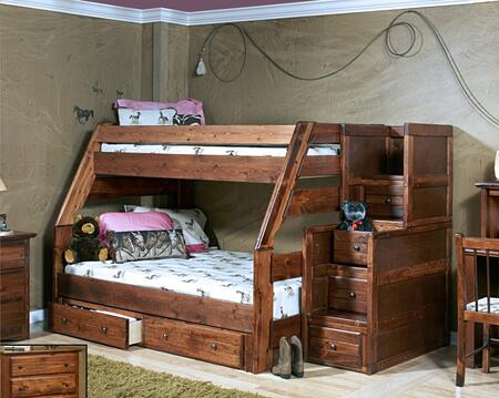 Chelsea Home Furniture 3524720-4453-X Twin Over Full Bunk Bed with Stairway Chest, Rustic Style, and All Pine Wood Construction in Cocoa