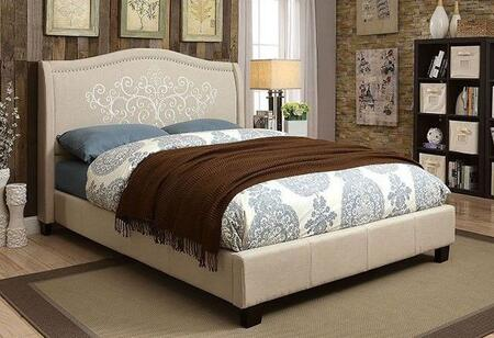 Furniture of America Karissa CM7698 Bed with Contemporary Style, Embroidered Floral Details, Camelback Headboard, Black Tapered Legs and Linen-like Fabric in Beige