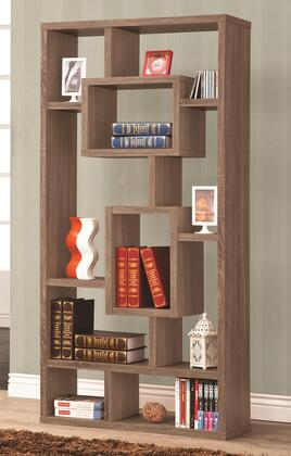 Coaster 80015 Bookcases Geometric Cubed Rectangular Bookshelf with 10 Shelves for Storage and Open Back for a Two-Way Display in Finish