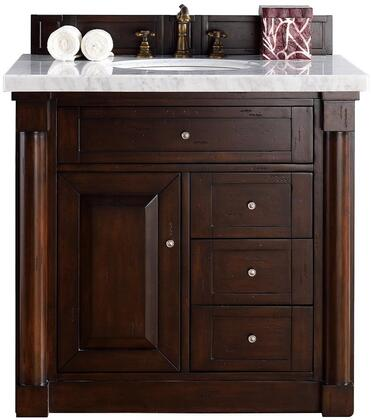 """James Martin New Haven Collection 770-V36-BNM- 36"""" Burnished Mahogany Single Vanity with Four Drawers, One Door, Satin Nickel Hardware and"""