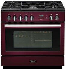 AGA APRO36DFBNCRN PRO Plus Series Dual Fuel Freestanding Range with Sealed Burner Cooktop, 4.9 cu. ft. Primary Oven Capacity, Storage in Cranberry