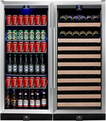 "KingsBottle KBU-100COMBO-BW 48"" x Temperature Zone Wine Cooler and Beverage Center with 98 Bottle and 300 Can Capacity, Warp Resistant Wood and Chromed Shelves: Glass Door with Stainless Steel Trim"