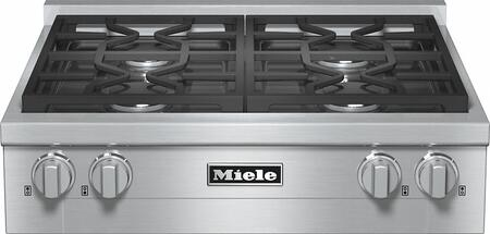 """Miele KMR1124 30"""" Gas Rangetop with 4 Sealed M Pro Dual Stacked Burners, TrueSimmer Function, Dishwasher-Safe Grates, Automatic Re-Ignition, Clean Touch Steel Front, and Backlit Knobs in"""