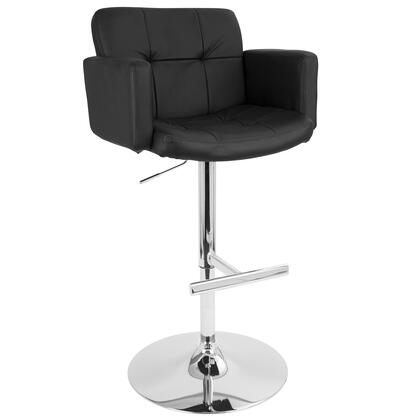 """LumiSource Stout BS-TW-STOUT 37"""" - 45"""" Barstool with Tufted Backrest, High Back Design and PU Leather Upholstery in"""