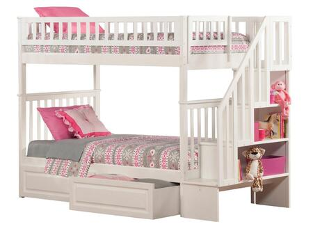 Atlantic Furniture AB5662 Woodland Staircase Bunk Bed Twin Over Twin With Raised Panel Bed Drawers