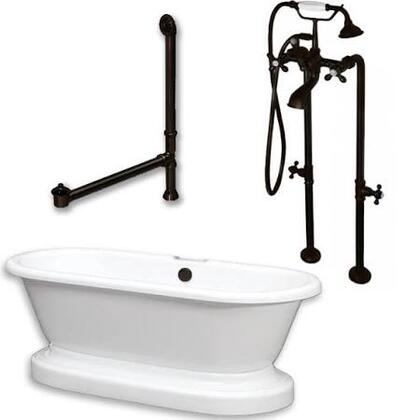 "Cambridge ADEP398463PKG Acrylic Double Ended Pedestal Bathtub 70"" x 30"" with no Faucet Drillings and Complete Plumbing Package"