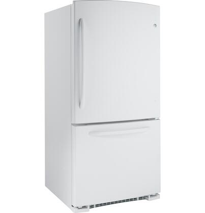 GE GDSC3KCYWW  Bottom Freezer Refrigerator with 22.7 cu. ft. Total Capacity 6.5 cu. ft. Freezer Capacity 4 Glass Shelves
