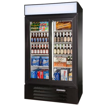 "Beverage-Air LV38-1 LumaVue 43"" Two Section Refrigerated Glass Door Merchandiser with LED Lighting, 38 cu.ft. Capacity, [Color] Exterior and Bottom Mounted Compressor"