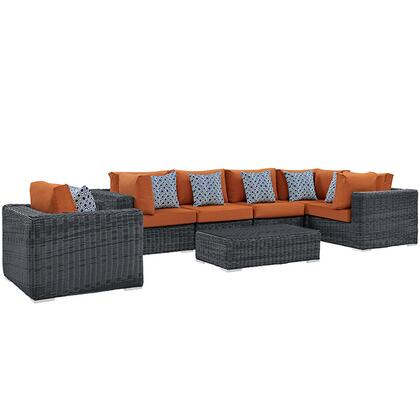 Modway Summon Collection 7 PC Outdoor Patio Sectional Set with Sunbrella Fabric, Round Synthetic Rattan Weave, Powder Coated Aluminum Frame and UV Resistant in