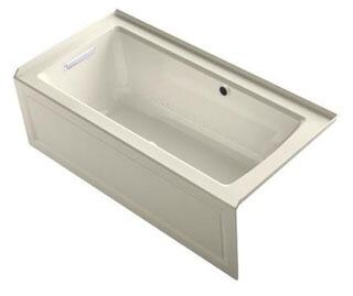 "Kohler K-1947-GLAW- Archer 60"" x 30"" Alcove BubbleMassage Air Bath with Integral Apron, Left-Hand Drain and Bask Heated Surface"