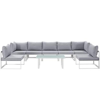Modway Fortuna Collection 8 PC Outdoor Patio Sectional Sofa Set with 2 Corner Chairs, 5 Armless Chairs, Tempered Glass Top Coffee Table, Powder Coated Aluminum Frame and Fabric Cushions in Color
