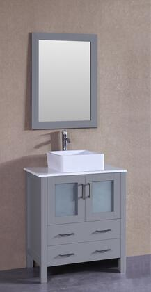 """Bosconi AGR130CBEPSX XX"""" Single Vanity with Phoenix Stone Top, Square White Ceramic Vessel Sink, F-S02 Faucet, Mirror, 2 Doors and X Drawers in Grey"""