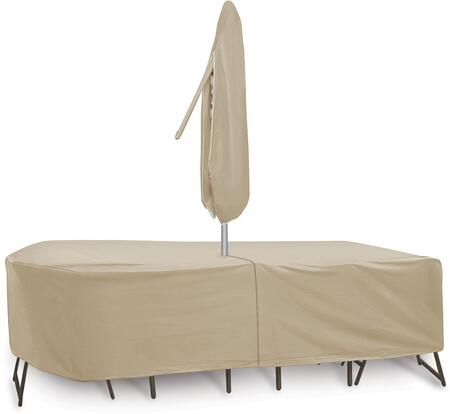 "PCI by Adco 135"" x 60"" x 30"" Oval/Rectangular Table and 6 Patio Chairs Cover with Umbrella Hole, Water Resistant, Secured Velcro Ties and Heavy Duty Vinyl Fabric in"