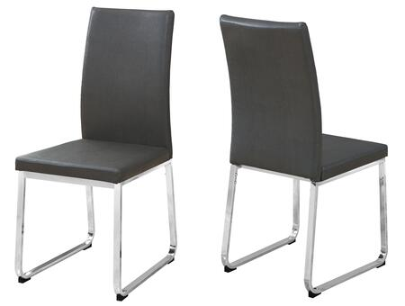 """Monarch I109SH Set of (2) 38"""" Dining Chair with Leather-Look Upholstery and Chrome Base in"""