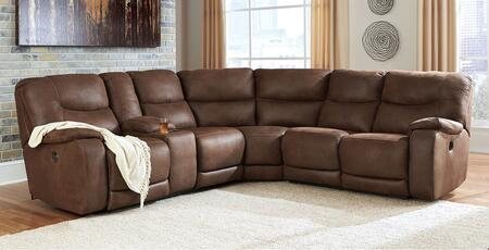 Benchcraft 83601SEC Longview Sectional Sofa with Left/Right Arm Reclining Loveseat with Console, Wedge and Right/Left Arm Reclining Loveseat in Brown
