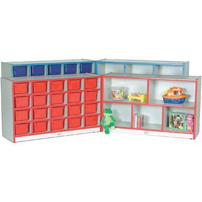 Mahar N70855 Hinged Storage Units with Hasp, Contains 2 Units Without Trays in Gray Nebula Finish with Edge Color (Pre-School)