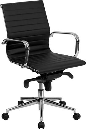 "Flash Furniture BT-9826M-XX-GG 18.5"" Mid-Back Ribbed Upholstered Leather Conference Chair with Coat Rack on Back, Built-In Lumbar Support, Dual Paddle Control, and Polished Aluminum Base"