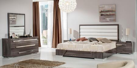 VIG Furniture VGACCAPULETSET Nova Domus Capulet Italian Bedroom Set with Bed, 2 Nightstands, Dresser, Mirror, White Leatherette Upholstery and Elm Veneer in Glossy Grey Finish