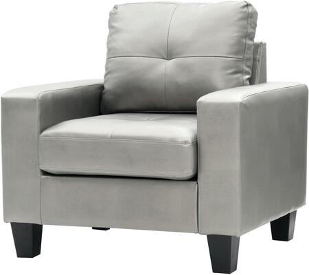 Glory Furniture G466AC Newbury Series Faux Leather Armchair in Antique Silver