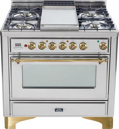 "Ilve UM90MPI 36"" Majestic Series Dual Fuel Freestanding Range with Sealed Burner Cooktop, 2.8 cu. ft. Primary Oven Capacity, Warming in Stainless Steel"