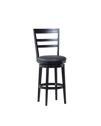 Powell Samuel Collection 15B8188 Stool with Circular Brace, Slat Back and Upholstered Seat in Black