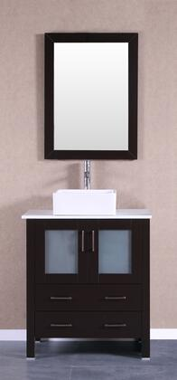 Bosconi Bosconi AB130CBEPSX Single Vanity with Soft Closing Doors , Drawers,Phoenix Stone Top, Faucet, Mirror in Espresso and White Vessel Square Ceramic Sink