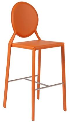 Euro Style 02482ORG Isabella Series Leather Upholstered Bar Stool