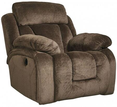 """Signature Design by Ashley 86505 Stricklin 41"""" Rocker Recliner with Piped Stitching, Metal Frame and Fabric Upholstery in Color"""
