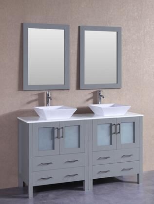 "Bosconi AGR230SX XX"" Double Vanity with Phoenix Stone Top, Flared Square White Ceramic Vessel Sink, F-S02 Faucet, Mirror, 4 Doors and X Drawers in Grey"