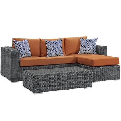 Modway Summon Collection EEI-2397-GRY- 3-Piece Outdoor Patio Sunbrella Sectional Set with Coffee Table, Ottoman and Sofa in