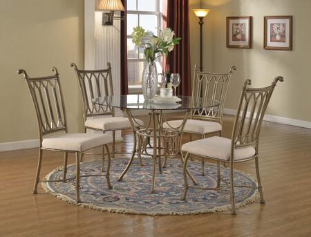 "Chintaly DARCY5PCRNDX DARCY DINING 5 Piece Set - Round 48"" Glass Top and Metal Base Table with 4 Beige Fabric Powder Coating Metal Chairs"